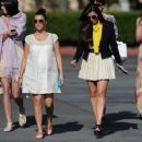 Kourtney and Kim Kardashian: leaving church after an Easter service in Los Angeles
