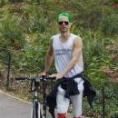 Jared  Leto - enjoying a bike ride through Central Park  NYC 25th May 2015