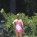 Hailey Bieber in Pink Shorts on Memorial Day in Beverly Hills