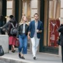 Melissa Benoist and Chris Wood – Strolling on Rue Royale in Paris 09/24/2018