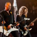 James Hetfield and Kirk Hammettof Metallica performs on the Pyramid stage during Day 2 of the Glastonbury Festival at Worthy Farm on June 28, 2014 in Glastonbury, England.