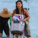 Nicole Scherzinger in Blue Bikini on the beach in Hawaii