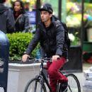 Joe Jonas made his way through New York City, April 11, with pal, Jack Lawless
