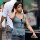 Michelle Rodriguez appears to be picking her ear while out and about in New York City
