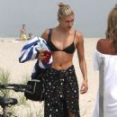 Hailey Baldwin in Bikini Top with Justin Bieber on the beach in The Hamptons