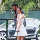 Ana De Armas in White Mini Dress with Ben Affleck – Take the dogs out for a morning walk in Los Angeles