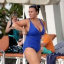 Chanelle Hayes in Blue Swimsuit on the pool in Tenerif - 454 x 475