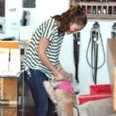 Minka Kelly goes to LA Dogworks in West Hollywood to pick up her adorable pooch