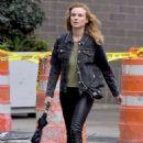 Diane Kruger in Skinny Black Leather Pants – Los Angeles 9/21/2016