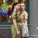 Adriana Lima  and Josephine Skriver are seen during a photoshoot for Maybelline in SoHo in New York City