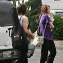 Miley Cyrus & Justin Gaston Arrive At A Recording Studio In Hollywood, 2009-05-01