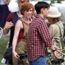 Jessica Chastain and Sophia Willis – On set of 'It Chapter Two' in Port Hope