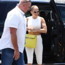 Jennifer Lopez – Heads to the gym in a all white outfit in Miami