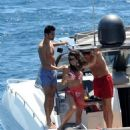 Dominic Cooper spending the day boating around Ischia Beach, Italy (July 13)