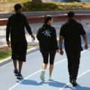 Kim Kardashian in Tights workout with her trainer in Los Angeles