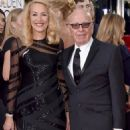 Still going strong! Jerry Hall, 59, hits the Golden Globes red carpet on the arm of 84-year-old Rupert Murdoch - three months after it was revealed they are dating - 11 Jan 2016 - 454 x 594