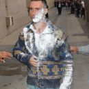 Adam Levine got sugar-bombed outside of Jimmy Kimmel Live on Wednesday, May 6,2015 - 454 x 923