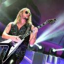 Richie Faulkner of Judas Priest performs on the final night of the band's Firepower World Tour at The Joint inside the Hard Rock Hotel & Casino on June 29, 2019 in Las Vegas, Nevada - 454 x 330