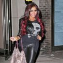 "Nicole ""Snooki"" Polizzi unveils her new hair color as she leaves the Gemini 14 salon in New York"