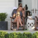 Nina Agdal – With her Dog out in Hamptons