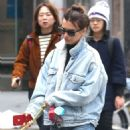 Emily Ratajkowski in Denim with Columbo in NYC