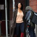 Padma Lakshmi in Red High Boots – Out in NYC - 454 x 642