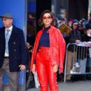 Naomi Scott in Red Leather Suit – Leaves GMA studios in NYC
