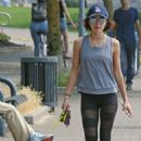 Lucy Hale – Takes her dog Elvis on a walk in Vancouver