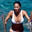 Nicole Scherzinger in White Bikini in Capri - 454 x 681