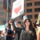 Actress Shannen Doherty attends the 'World Love For Dolphins Day' Demonstration in opposition to dolphin hunts in Taiji, Japan, on February 14, 2014 at The Japanese Consulate, in Los Angeles, California