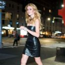 Katherine McNamara in Black Leather Dress – Out in NYC