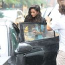 Shay Mitchell out on a rainy day in NYC
