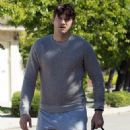 Ashton Kutcher seen walking his dog through his neighborhood in Los Angeles, California on April 6, 2014
