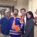 Shannen Doherty & Kevin Smith on the set of Smith's TV show The Short-Com Comedy Hour, filmed February 2013