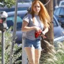 Ariel Winter in Denim Shorts at McConnell's Ice Cream shop in Studio City