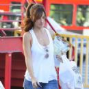 Minka Kelly: leaving the Salon Benjamin and then stopping off at the Collar And Leash pet store in West Hollywood