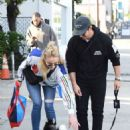 Sophie Turner and Joe Jonas with their dog in Los Angeles