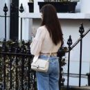 Amy Jackson – In her white blouse top and jeans out and about in Chelsea - 454 x 718