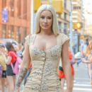 Iggy Azalea in Mini Floral Print Dress – Arrives at Build Series in New York City