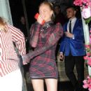 Sophie Turner in Plaid Mini Dress – Leaves Sexy Fish Restaurant in London