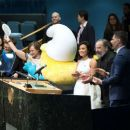 Demi Lovato at Smurfs: The Lost Village Press Conference at United Nations Headquarters in NY