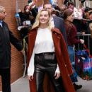 Margot Robbie in Leather Pants and Long Coat – Out in New York