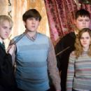 "(L-r) TOM FELTON as Draco Malfoy, MATTHEW LEWIS as Neville Longbottom, JAMIE WAYLETT as Vincent Crabbe and EMMA WATSON as Hermione Granger in Warner Bros. Pictures' fantasy 'Harry Potter and the Order of the Phoenix."" Photo by Murray Close."