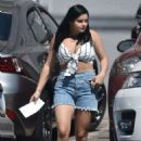 Ariel Winter in Jeans Shorts at a Studio in Studio City