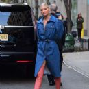 Elsa Hosk in Long Jeans Coat – Out in NYC - 454 x 601