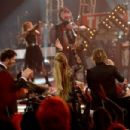 "Musician Steven Tyler and finalist Jax perform onstage with American Idol judges Harry Connick Jr., Jennifer Lopez, and Keith Urban during ""American Idol"" XIV Grand Finale at Dolby Theatre on May 13, 2015 in Hollywood, California."