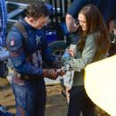 Chris Evans and Elizabeth Olsen on the set of Captain America: Civil War