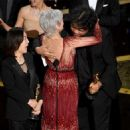 Jane Fonda, the producer Kwak Sin-ae and the director Bong Joon-ho At The 92nd Annual Academy Awards - Show - 454 x 520