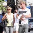 Chris Hemsworth and wife Elsa Pataky walking around Santa Monica with their newborn India Rose (July 20)