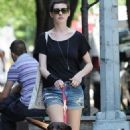 Anne Hathaway leaving an Upper East Side hospital with her pooch (July 2)